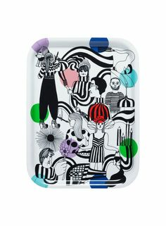 Carry tasty snacks on the lightweight Kimpassa tray, emblazoned with the ordered chaos of artists in action. It's shatterproof, waterproof, and food safe. Made of laminated birch plywood. Tv Trays, Serving Trays, The Zoe Report, Small Tray, Marimekko, Retro Home, Hostess Gifts, Hygge, Cool Gifts