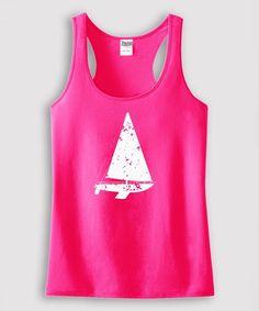 Hot Pink Sailboat Tank - Toddler & Girls