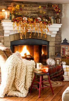 Cozy fall and Halloween decor in a family room with stone fireplace and farmhouse style kitchen. Autumn Cozy, Autumn Fall, Autumn House, Autumn Decorating, Farmhouse Style Kitchen, Decoration Design, Fall Home Decor, Autumn Decor Living Room, Autumn Home Decorations