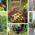 Are you tired of the usual garden decorations? you can try these new settings with old chairs and colorful flowers. Old Chairs, Colorful Flowers, Ladder Decor, Outdoor Structures, Garden, Home Decor, Homemade Home Decor, Garten, Gardening