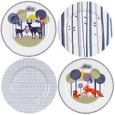 Wild & Wolf Folklore Woodland Animals & Spring Rain Ceramic Plates - Set of 4