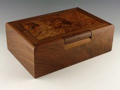 Walnut box with burl top by Richard and JoAnne DeMeules.