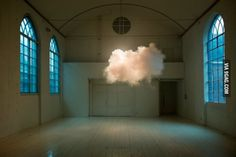 By balancing temperature, humidity and lighting, a Dutch artist created a cloud in the middle of a room.