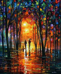 (new!) Dark Park — PALETTE KNIFE Oil Painting On Canvas by AfremovArtStudio, $319.00