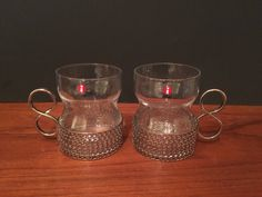Iittala Glass Finland Coffee/Espresso Cup in Silvertone Metal Holder Set of Two