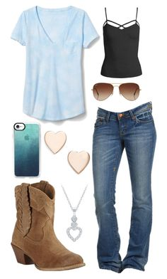 """""""Simple"""" by im-a-jeans-and-boots-kinda-girl on Polyvore featuring Sans Souci, Casetify, Gap, Ariat, Rayban and Poppy Finch"""