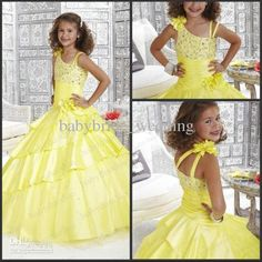 Wholesale Sweeping neckline Two Thin straps Ballroom Ruffles 33422 Flower Girl Dress Taffeta Handmade Flowers, Free shipping, $100.8-116.48/Piece | DHgate