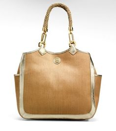 Straw metallic Channing tote from Tory Burch-love that the symbol is tiny