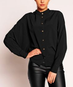 NOMMO & KAREN---LOVES IT!!!   Love this Black Button-Up Cape-Sleeve Top on #zulily! #zulilyfinds