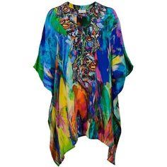 Camilla Multicolor Short Lace-up Kaftan ❤ liked on Polyvore featuring short kaftan and short caftan