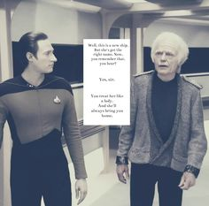 Data and Admiral McCoy. I loved these lines.