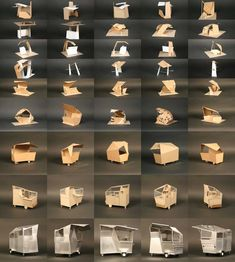 examples of three dimensional abstraction applied to the mm street eats kiosk project, by sallyann corn joe kent, 2008 Tyni House, Tiny House Cabin, Conceptual Sketches, Conceptual Design, Kiosk Design, Booth Design, Sustainable Architecture, Architecture Design, Architecture Models