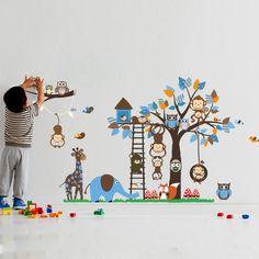 Fresh Sunnicy Wandtattoo Wandsticker Dschungel Eulen auf dem Ast Die Welt der Tiere Wandbilder f r schlafzimmer Wohnzimmer Kindergarten Baby SUNNICY htt u