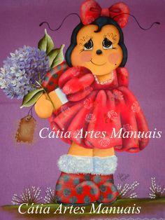 Projeto da Joaninha pintada no tecido colorido:   *cara, mãos, e pernas: salmão, caramelo, marrom   *cabeça: preto, azul celeste   *f...