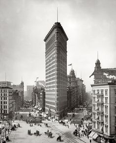 "New York circa 1903. ""Flatiron Building, Broadway and Fifth Avenue."" Another view of everyone's favorite proto-skyscraper, at anchor in Manhattan.   Would LOVE to have seen NY at that time."