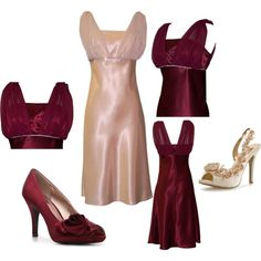 Inexpensive dress and shoes set (under $100 for both), lots of colors available.