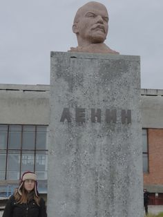 Pyramiden, Spitsbergen Norway. Lenin's monument in the centre of the town