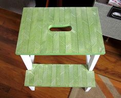 Original craft and diy projects by a paper loving mid century design enthusiast. Bekvam Stool, Ikea Bekvam, Chair Reupholstery, Picnic Blanket, Outdoor Blanket, Ikea Stool, Herringbone Pattern, Furniture Inspiration, Mid Century Design