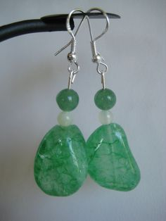 Green Crackle Agate Earrings with Jade accents by SmithNJewels, $10.99