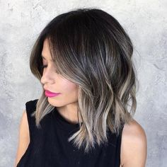 Our trending black to grey balayage ombre shade blends easily in to black hair, resulting in an overall sizzling hot and natural and current ombre look. It works on gray hair. Balayage is a smart solution for gray hair because it . Ombre Hair Long Bob, Ash Blonde Balayage Short, Brown Balayage, Blonde Highlights On Dark Hair Short, Ash Brown Highlights, Blonde Ends, Color Highlights, Blonde Highlights On Dark Hair All Over, Dark Hair