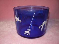 Hazel Atlas Cobalt Blue Glass Ice Bucket w/ Leashed Dogs in White