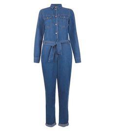 Blue Denim Belted Utility Jumpsuit
