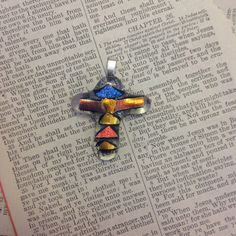 Beautiful Dichroic Fused Glass Cross Gold Pink Blue by SheIsHis