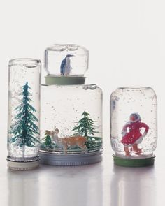 The shimmering magic of snowfall is always transfixing, whether it's outside your window or inside this classic toy. Homemade globes let you create a wintry scene straight out of your own imagination.  Almost any jar works for this project: Baby-food, pimiento, and olive jars are good choices. Look for plastic or ceramic figurines (metal ones are prone to rust) at flea markets and hobby or model-railroad shops. Synthetic evergreen tips are available at many floral-supply stores. You will…