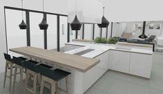 comptoir / cuisine /Salle-à-manger sur mesure en bois et marbre blanc
