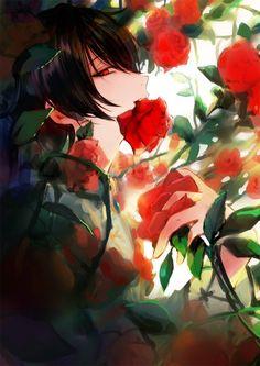 ) Anime boy with Roses Anime Love, Dark Anime Guys, Cool Anime Guys, Hot Anime Boy, Handsome Anime Guys, Beautiful Anime Girl, Anime Art Girl, Anime Girls, Fanarts Anime