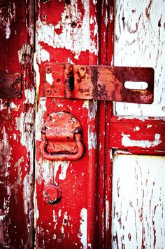 Aged Red Door - New Orleans