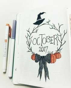 deckblatt schule Halloween theme bullet journal layouts including October monthly cover page by Bullet Journal Cover Page, Bullet Journal 2019, Bullet Journal Notebook, Bullet Journal Spread, Bullet Journal Ideas Pages, Journal Covers, Bullet Journals, Junk Journal, Monthly Bullet Journal Layout