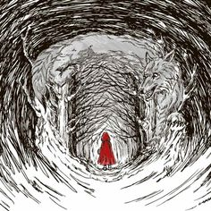 little red riding hood and wolf artwork idea. Little Red Hood, Red Ridding Hood, Art Manga, Big Bad Wolf, Fairytale Art, Werewolf, Light In The Dark, Fairy Tales, Illustration Art