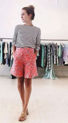 sleek shorts | LE CATCH #floral #stripes