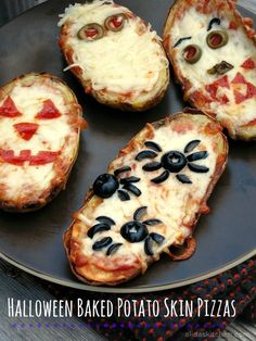 Halloween Baked Potato Skin Pizzas | alidaskitchen.com #recipes #Halloween #SundaySupper