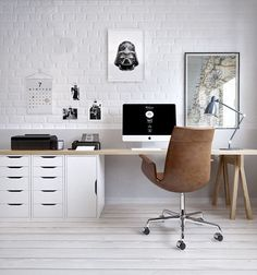 Modern Home Office Design is certainly important for your home. Whether you choose the Modern Home Office Design or Decorating Big Walls Living Room, you will make the best Modern Office Design Home for your own life. Home Office Space, Office Workspace, Home Office Decor, Small Office, Office Furniture, Office Decorations, Office Table, Furniture Plans, Kids Furniture