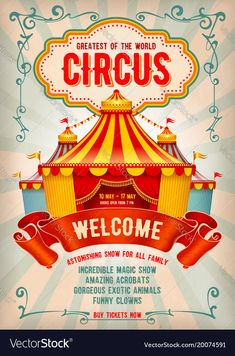 Illustration of Vintage Circus advertising poster or flyer with big circus marquee. Elegant title, retro background and space for your text. vector art, clipart and stock vectors. Vintage Circus Posters, Carnival Posters, Carnival Themes, Free Vector Graphics, Free Vector Art, Circo Vintage, Retro Background, Advertising Poster, Vintage Labels
