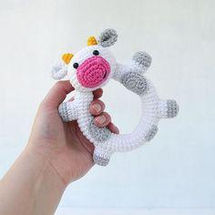 Happy Cow Rattle Pattern Crochet Rattle Toy Baby by TillySome Crochet Baby Toys, Cute Crochet, Crochet Animals, Crochet Dolls, Crochet Bunny, Crochet Christmas Gifts, Happy Cow, Baby Rattle, Crochet Patterns Amigurumi