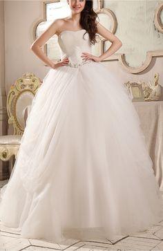 Romantic Hall Strapless Backless Chapel Train Rhinestone Bridal Gowns