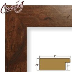 """Craig Frames Inc 20"""" x 30"""" Dark Brown Rustic Pine Smooth Wood Grain Finish 2 Inch Wide Picture Frame (74004) 