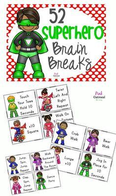 Superhero themed brain breaks.  Have kiddos imagine being superheroes when performing brain breaks! Pink Oatmeal