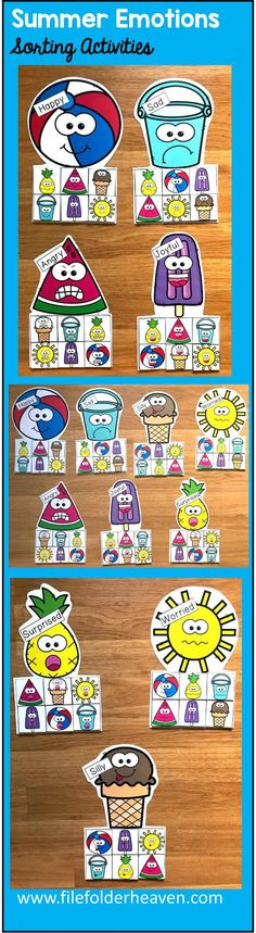 These Summer Emotions Sorting Activities offer a fun and hands-on way for students to work on and review, identifying emotions. This set includes 7 unique mats: Beach Ball, Sunshine, Popsicle, Ice Cream, Bucket, Pineapple, and Watermelon. At an independent workstation, center or language group, students complete the following sorting and classification activities. Sorting Happy Sorting Sad Sorting Silly Sorting Surprised Sorting Angry Sorting Worried Sorting Joyful