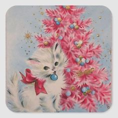 Details about Sweet Kitty Cat by the Pink Tree-Vintage Christmas Greeting Card - Alte Grußkarten - Cat Christmas Cards, Christmas Kitten, Pink Christmas Tree, Christmas Graphics, Retro Christmas, Christmas Greetings, Christmas Ornaments, Vintage Christmas Images, Vintage Holiday