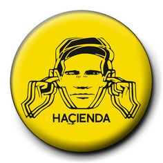 "Hacienda 1"" 25mm Badge Button Pin Factory Records Happy Mondays Manchester"