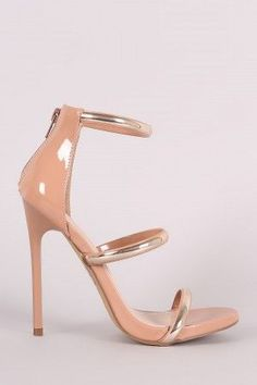 b404d410907 Shoe Republic LA Triple Metallic Accent Straps Stiletto Heel