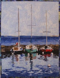 This is one of my raw edge fused art quilt patterns designed from photos taken in France on Lake Geneva in a small village called Yvoire, the old Quilt Kits, Quilt Blocks, Yvoire, Sailboat Art, Sailboats, Sailboat Painting, Watercolor Quilt, Nautical Quilt, Landscape Art Quilts