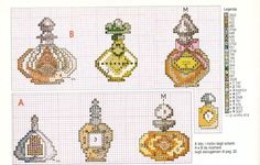 0 point de croix anciennes bouteilles parfum - cross stitch antique bottles of perfume