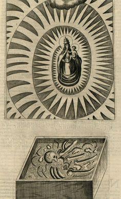 Soccorum, Salium & Transform. --  virgin and child and a human skeleton, by Athanasius Kircher,1678