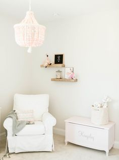 Project Nursery - Glider and Toy Chest in Pink, White and Gray Nursery