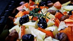Roasted veggies with chestnuts and rosemary